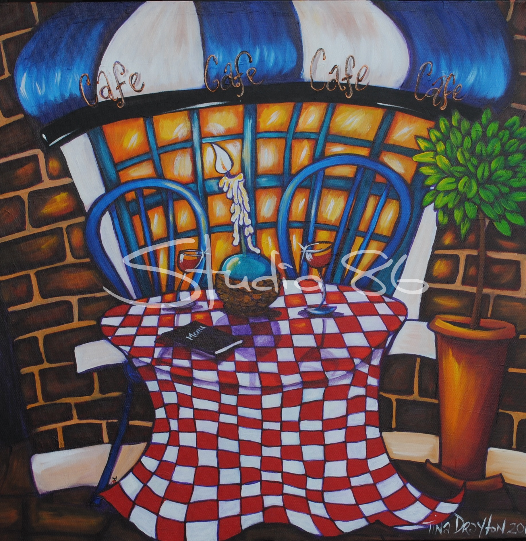 Italian cafe painting best painting 2018 for Best mural paint